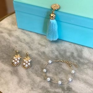 NWT Pineapple Pearl Earring + Bracelet Set